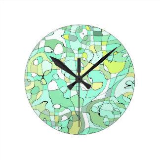Relógio Redondo Abstrato do Aqua