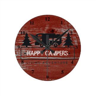 Relógio Redondo Acampamento rústico vermelho feliz da madeira rv