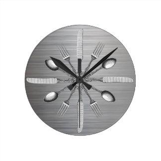 Relógio Redondo Aço do metal do falso dos utensílios da cozinha do