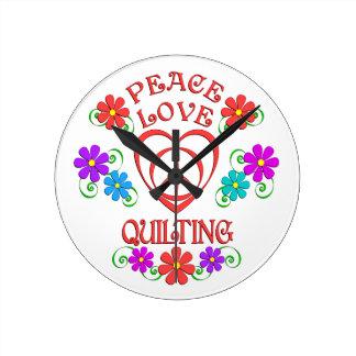 Relógio Redondo Acolchoado do amor da paz