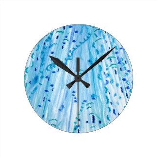 Relógio Redondo Aguarela azul do abstrato da cerceta