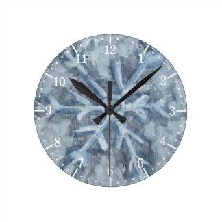 Relógio Redondo Aguarela do floco de neve do inverno