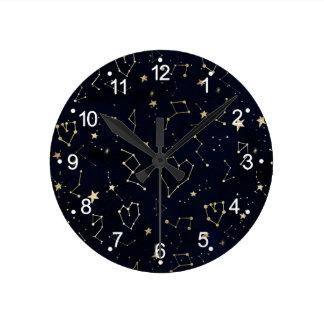 Relógio Redondo Aguarela dos azuis marinhos da estrela do coração