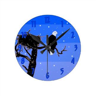 Relógio Redondo Águia americana no inverno