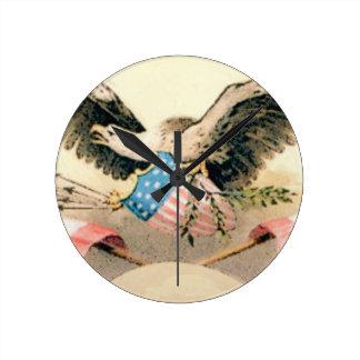 Relógio Redondo águia e selo das bandeiras