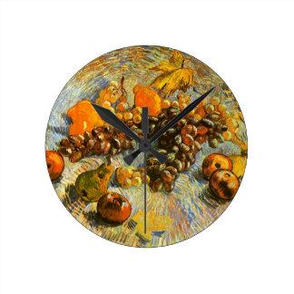 Relógio Redondo Ainda vida com maçãs, peras, uvas - Van Gogh