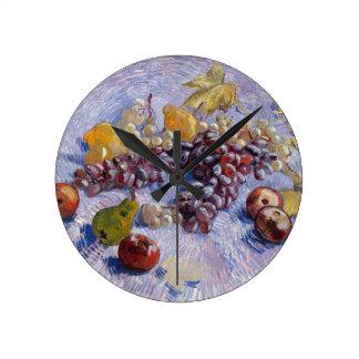 Relógio Redondo Ainda vida: Maçãs, peras, uvas - Van Gogh