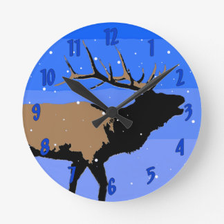 Relógio Redondo Alces de Bugling no inverno