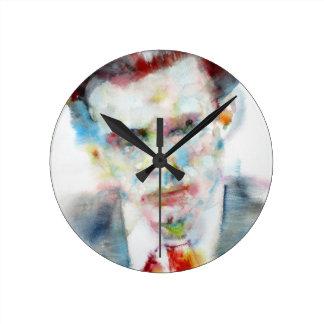 Relógio Redondo ALDOUS HUXLEY - retrato .4 da aguarela