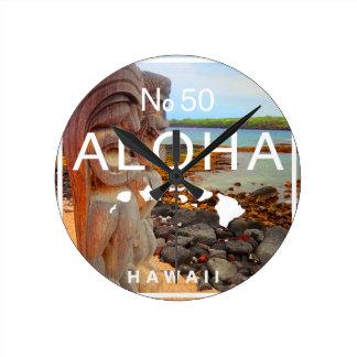 Relógio Redondo Aloha nenhuns 50 Tiki