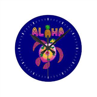 Relógio Redondo Aloha tartaruga havaiana de Honu