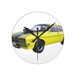 Relógio Redondo Amarelo do carro de 1970 músculos com listra preta