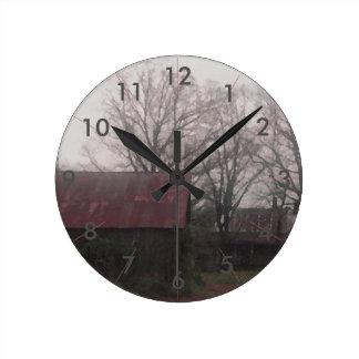 Relógio Redondo Americana rústica do outono da cena do inverno do