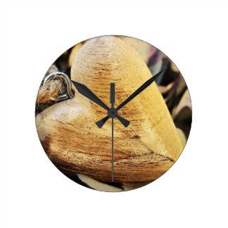 Relógio Redondo Amor de madeira da madeira da flor do Hydrangea do