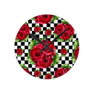 Relógio Redondo Amor floral do buquê Rockabilly das rosas