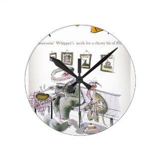 Relógio Redondo amor yorkshire que pede os dentes dos whippets
