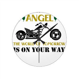 Relógio Redondo Anjo da motocicleta