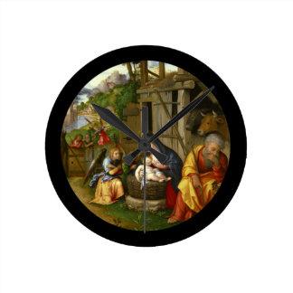 Relógio Redondo Anjos c1515 da natividade e da criança