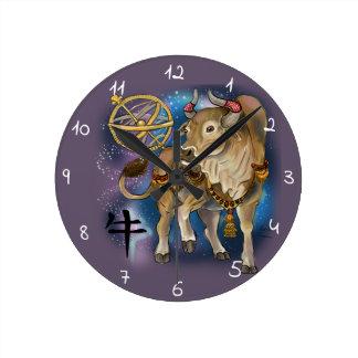 Relógio Redondo Ano chinês do zodíaco do boi