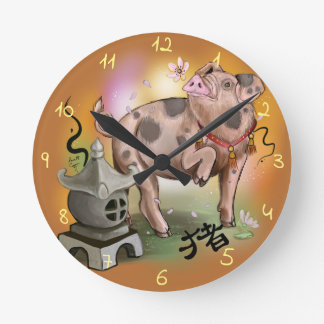 Relógio Redondo Ano chinês do zodíaco do porco