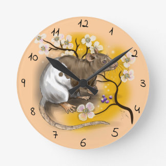 Relógio Redondo Ano chinês do zodíaco do rato
