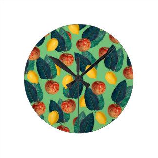 Relógio Redondo aples e verde dos limões