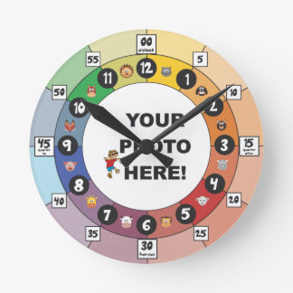 Relógio Redondo Aprendendo o pulso de disparo para crianças e