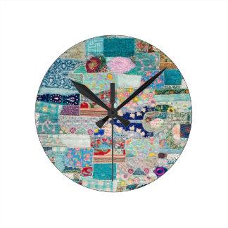 Relógio Redondo Aqua e design azul da tapeçaria da edredão