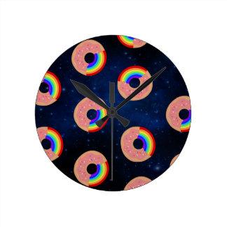 Relógio Redondo Arcos-íris da rosquinha da galáxia