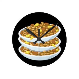 Relógio Redondo Arroz fritado da comida do pulso aleatório