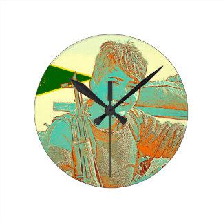 Relógio Redondo Arte curdo 2 do lutador 3 de YPJ