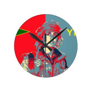 Relógio Redondo Arte curdo 2 do lutador de YPJ