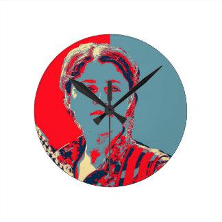 Relógio Redondo Arte curdo do lutador da fêmea YPG