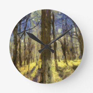 Relógio Redondo Arte da floresta de Vincent van Gogh