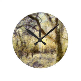 Relógio Redondo Arte da floresta do nascer do sol