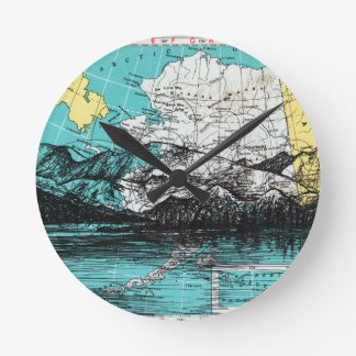 Relógio Redondo Arte do mapa de Alaska