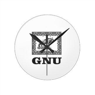 Relógio Redondo Arte do poder do Gnu