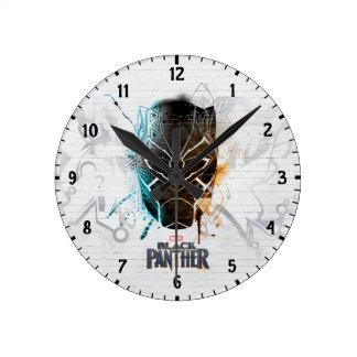 Relógio Redondo Arte dupla preta da rua das panteras da pantera |