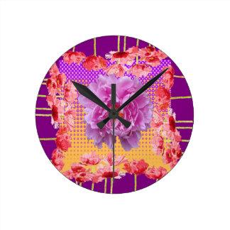 Relógio Redondo arte floral roxa da peônia cor-de-rosa