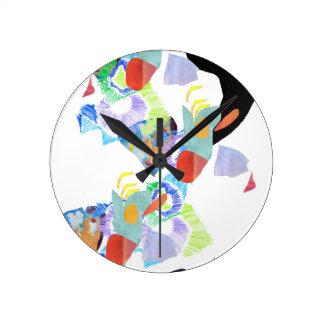 Relógio Redondo Arte funky das gotas de néon da pintura