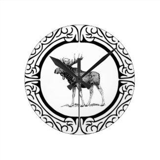 Relógio Redondo arte grande dos alces do touro