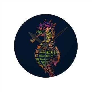 Relógio Redondo Arte muito colorida do cavalo marinho
