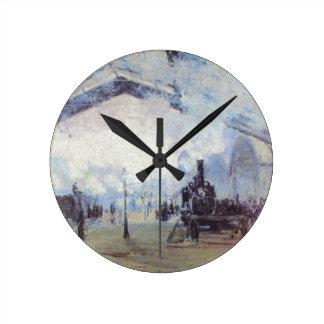 Relógio Redondo Arte popular do vintage do estação de