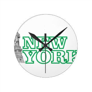 Relógio Redondo arte verde da estátua da liberdade