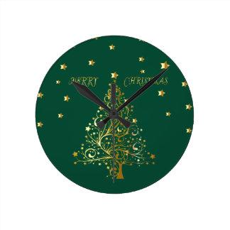 Relógio Redondo Árvore de Natal metálica bonita do ouro no verde