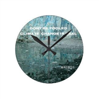 Relógio Redondo As alterações climáticas são geleira de