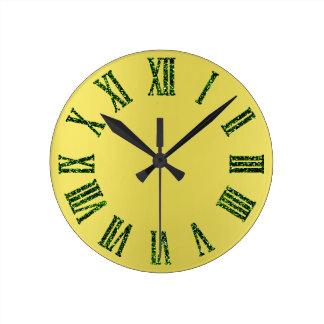 Relógio Redondo As hortaliças brilham mostarda amarela Ombre