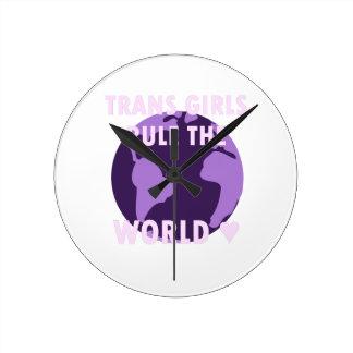 Relógio Redondo As meninas do transporte ordenam o mundo (v1)