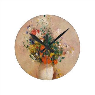 Relógio Redondo Assortion das flores no vaso
