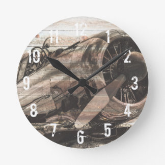 Relógio Redondo Avião do vintage